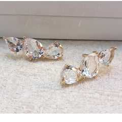 brinco earcuff -  gotas cristal