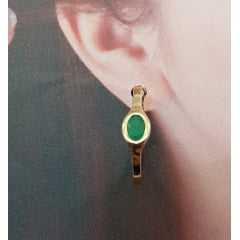 Brinco argola com cristal verde esmeralda oval