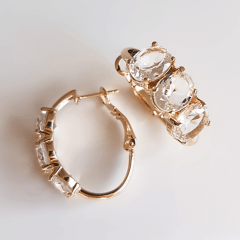 Brinco argola frontal cristal white