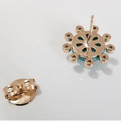 1-Brinco botão de resina turquesa e zircônias