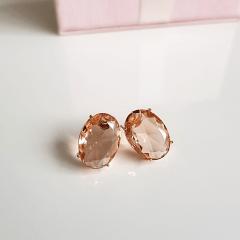 Brinco botão cristal pêssego morganita- oval 10x14mm