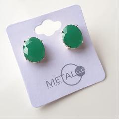Brinco botão oval de cristal verde esmeralda 10x12mm