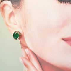 Brinco botão oval de cristal verde esmeralda e zircônia 10x12mm - 2