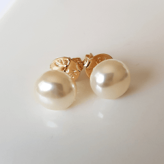 Brinco pérola shell 10mm