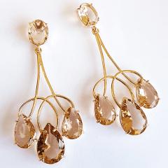 Brinco chandelier de cristais gota champanhe
