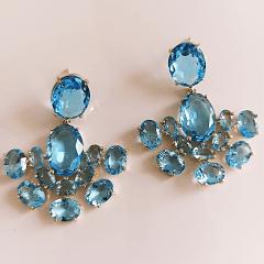 Brinco leque premium com cristais aquamarine