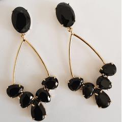 Brinco chandelier de cristais preto ônix