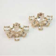 brinco cristais ovais  white - formato leque