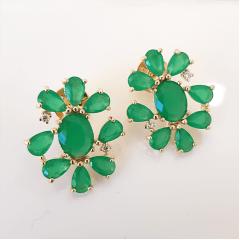 Brinco cristais verde esmeralda