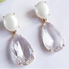 brinco cristal com pérola mabe e gota 14x23mm - cristal white