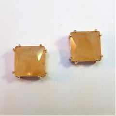 brinco cristal quadrado - tipo botão