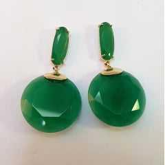 Brinco cristal redondo facetado  - cor verde esmeralda
