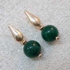 brinco de bola 10mm verde esmeralda