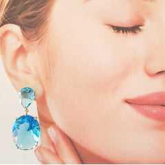 Brinco oval de cristal azul aquamarine