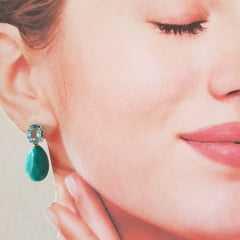 Brinco de cristal azul aquamarine e resina turquesa