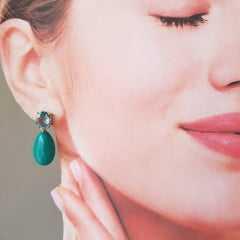 Brinco Daily resina turquesa e cristais azul aquamarine