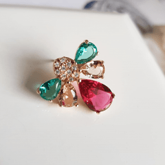 Brinco Alícia de cristais e zircônias - multicolor