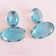 Brinco de cristal oval azul aquamarine