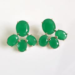 Brinco de cristal verde esmeralda