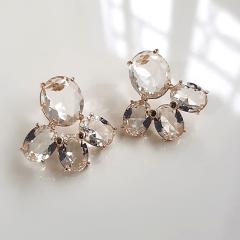 Brinco de cristais white - ovais