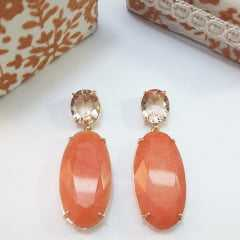 1-Brinco de pedra natural e cristal