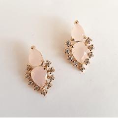 Brinco Encanto de cristais quartzo rosa