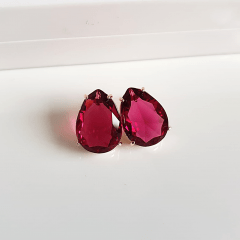 Brinco gota de cristal rosa turmalina