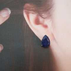 1- Brinco pedra natural cor azul safira