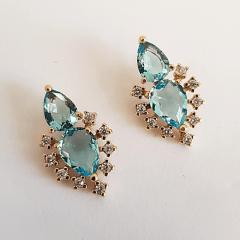 Brinco Encanto de cristais azul aquamarine