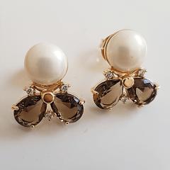 2-Brinco mademoiselle de pérola shell e cristais