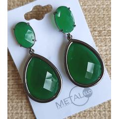 Brinco ródio negro de cristal gota verde esmeralda