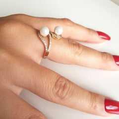 1-anel pérolas shell com zircônias