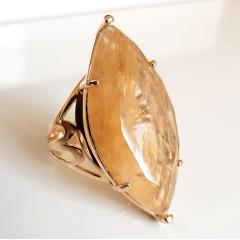 Anel Violette cristal rutilado - formato navete