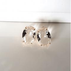 Brinco botão cristal white-oval 10x15mm