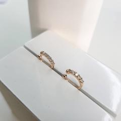 Piercing fake cravejado de zircônias  (11x1mm) - o par
