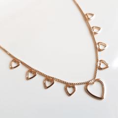 1-Colar Delicatta - com pingentinhos de corações vazados