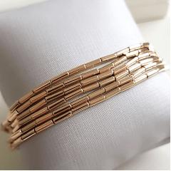 Colar-pulseira longo de tubos dourados 2 mm de espessura - 1,20 metros de comprimento