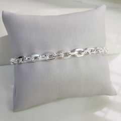 Pulseira unissex de corrente cartier diamantada 4mm - elo curto