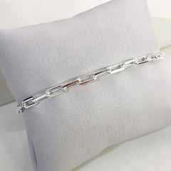 Pulseira unissex de corrente cartier diamantada 4mm