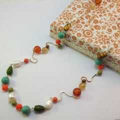 1 - Colar longo colorido