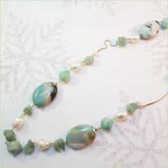 verde amazonita  - colar longo de  pedras naturais e pérolas de água doce
