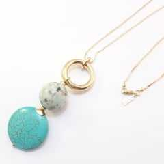 colar corrente longa + ping. pedras cor turquesa