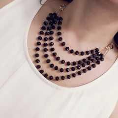 colar maxi ajustável - cristais marrom avermelhado