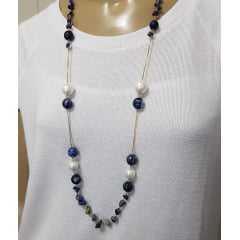 colar pedras naturais - sodalita , lápis lazuli e pérolas shell