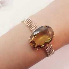 Conjunto Classic - pulseira e brinco - em cristal cor green gold