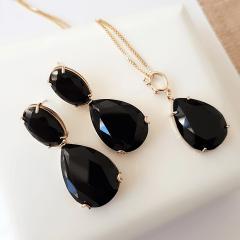 conjunto de cristal preto ônix - colar + brinco gota