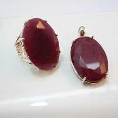 1-  Anel e pingente com cristal rubilita
