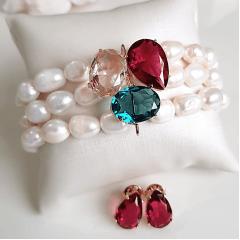 1-Conjunto brinco e pulseira bracelete com cristais e pérolas barrocas