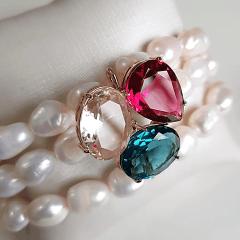 Conjunto pulseira bracelete e brinco com cristais e pérolas barrocas