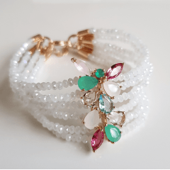 1-Conjunto pulseira bracelete de cristais multicolor com brinco